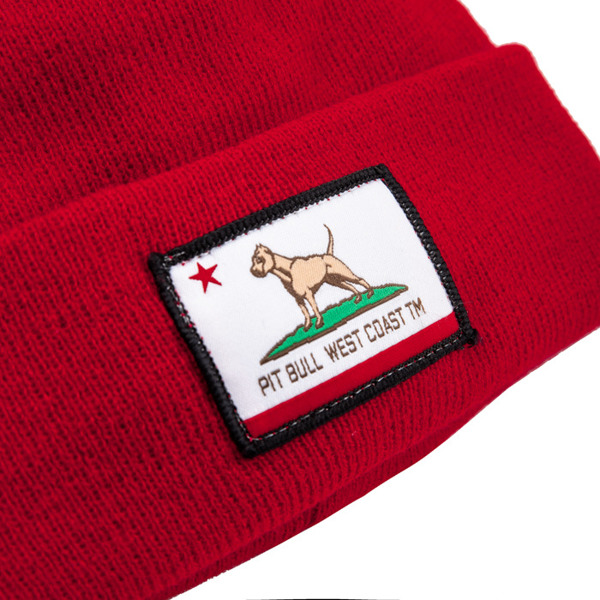 Czapka Pit Bull Beanie CALIFORNIA DOG Czerwona